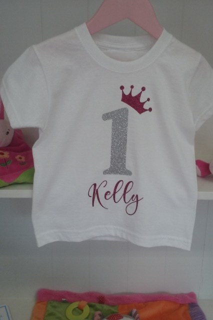 1st Birthday T-shirt  Glitter Print1